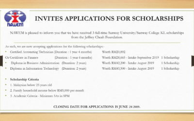 SUNWAY scholarships from the Jeffrey Cheah Foundatio